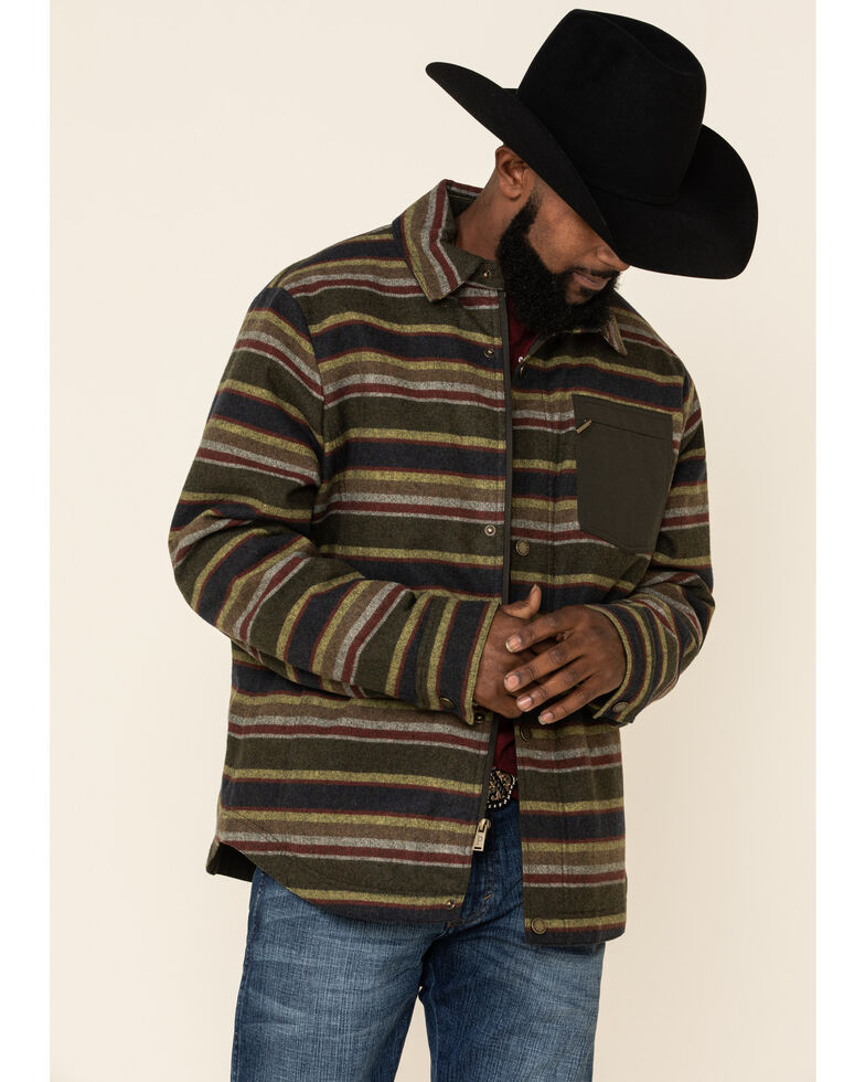 Pendleton Men's Olive Conway Striped Snap Front Insulated Shirt Jacket , Green, hi-res