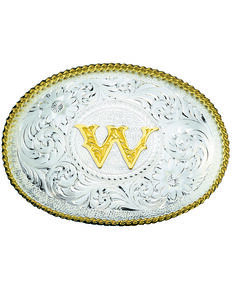 Montana Silversmiths Engraved Initial W Western Belt Buckle, Multi, hi-res