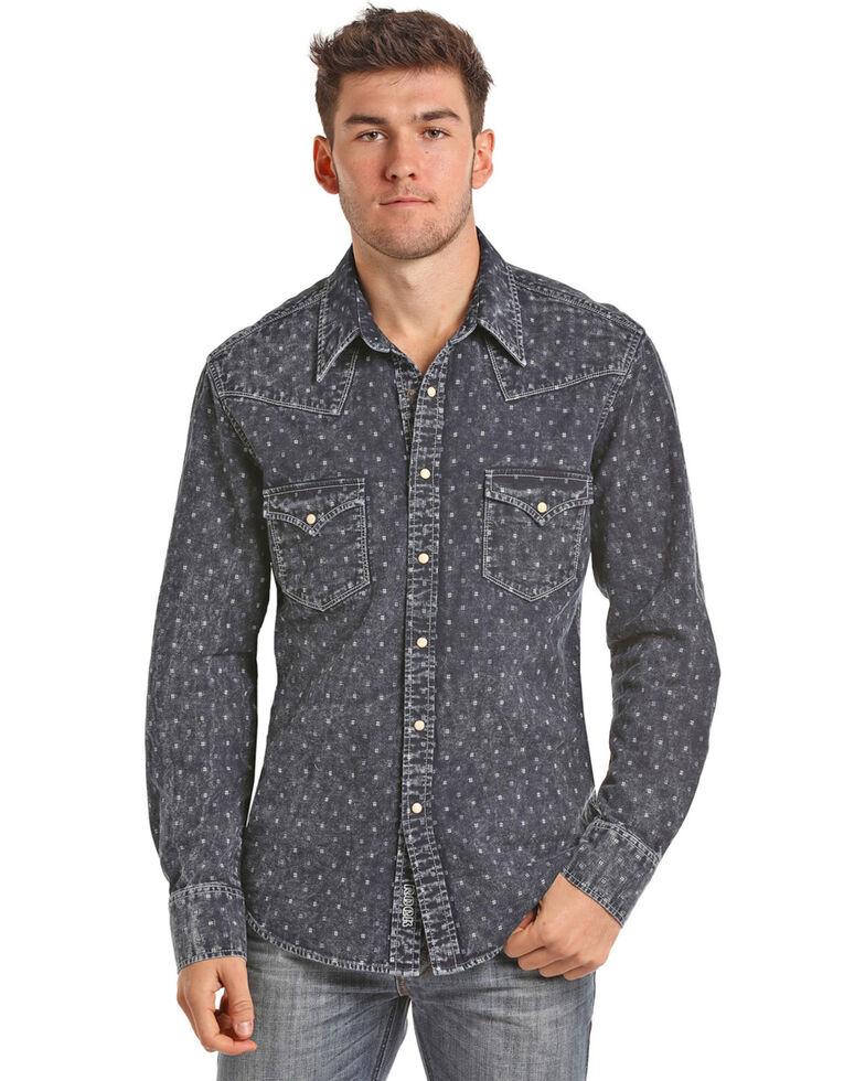 Rock & Roll Denim Men's Indigo-Dyed Double Weave Long Sleeve Snap Shirt, Indigo, hi-res