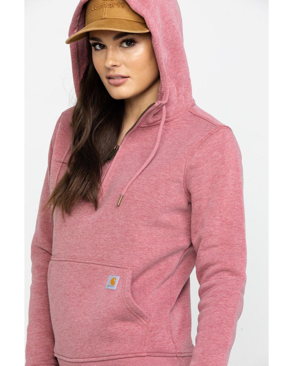 Carhartt Women's Clarksburg Half-Zip Hooded Zipper Sweatshirt, Heather Orange, hi-res