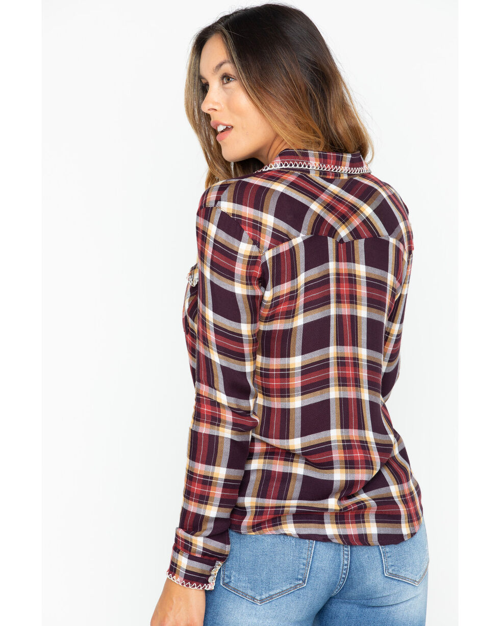 Ivory Love Women's Plaid Whipstitch Western Shirt , , hi-res