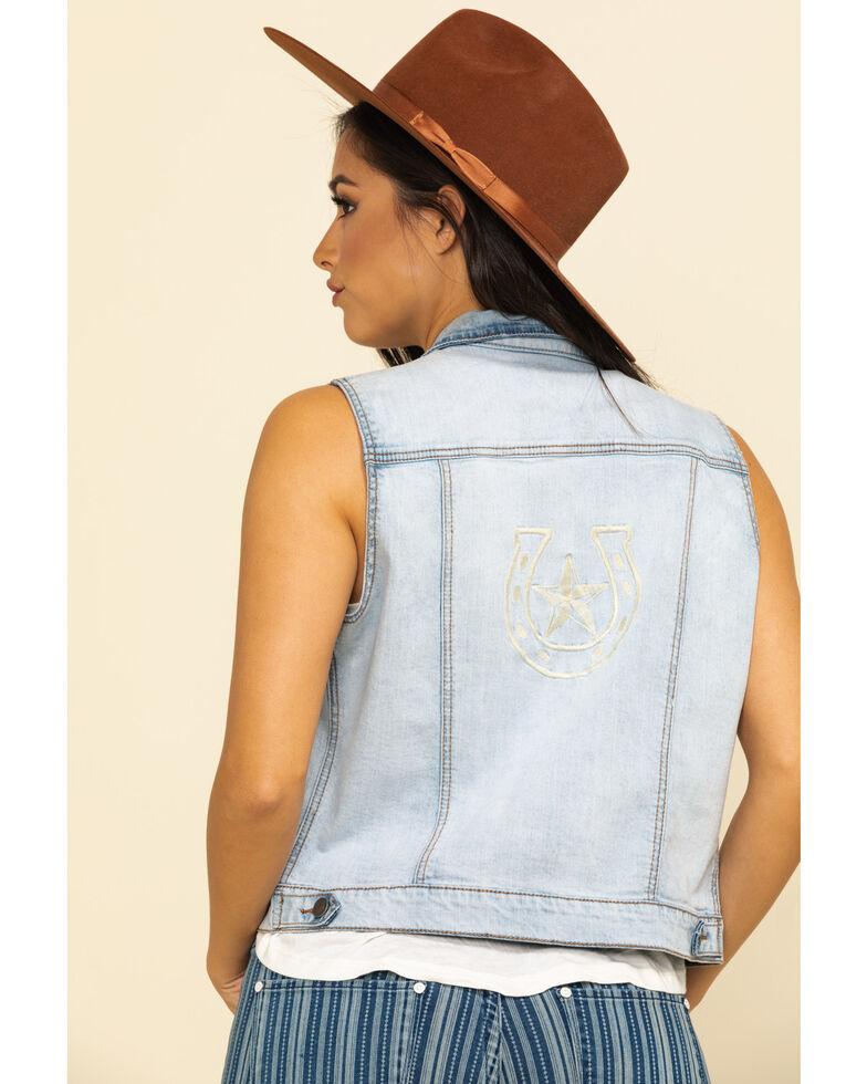 Stetson Women's Light Denim Horseshoe Vest, Blue, hi-res