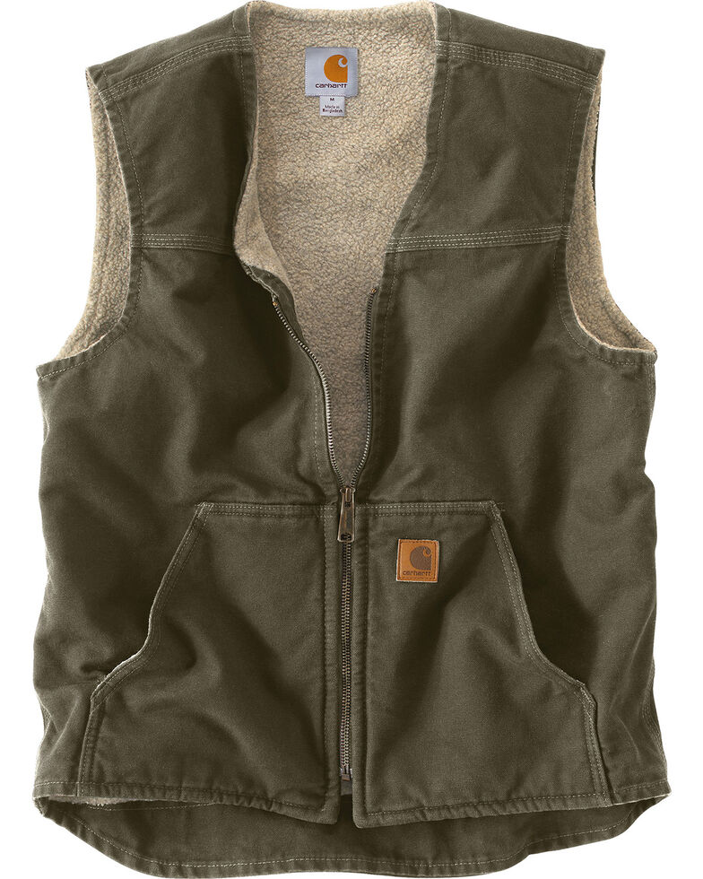 Carhartt Sandstone Duck Work Vest, Moss Green, hi-res