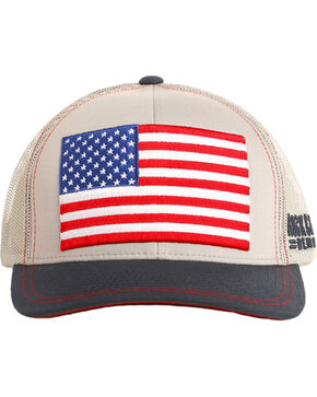 Rock & Roll Cowboy Men's Retro Flag Trucker Cap, Grey, hi-res