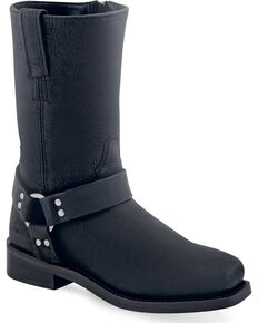Old West Boy's Black Harness Leather Boots - Square Toe , Black, hi-res