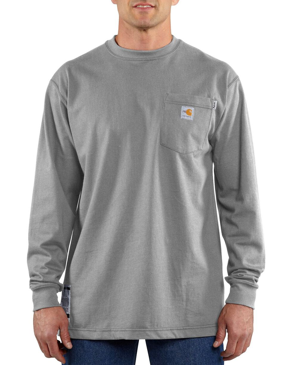 Carhartt Men's Long Sleeve Flame Resistant Force T-Shirt, Grey, hi-res