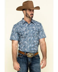 Cody James Men's Paisley Lake Short Sleeve Western Shirt , Blue, hi-res