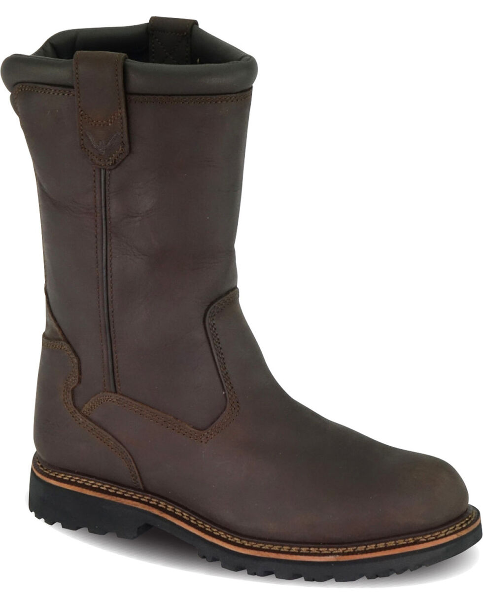 "Thorogood Men's 11"" Wellington Work Boots - Steel Toe, Brown, hi-res"
