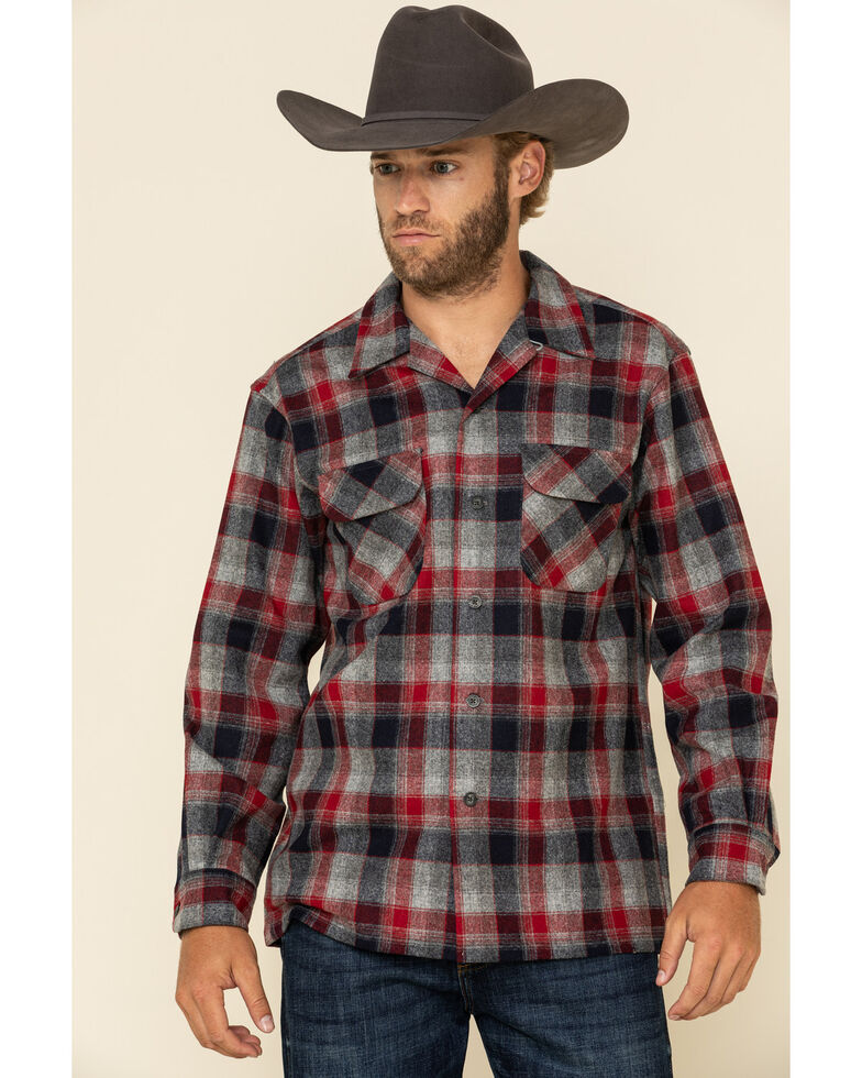 Pendleton Men's Red Board Plaid Long Sleeve Western Shirt , Red, hi-res