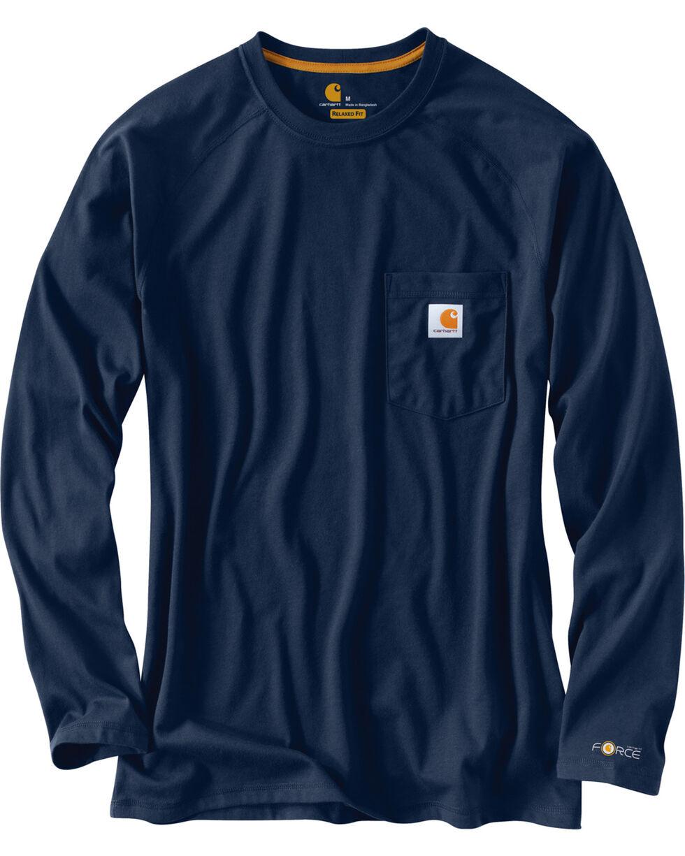 Carhartt Men's Long Sleeve Force T-Shirt, Navy, hi-res