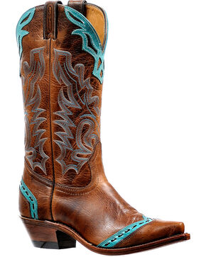 Boulet Women's West Turqueza Cowgirl Boots - Snip Toe, Brown, hi-res
