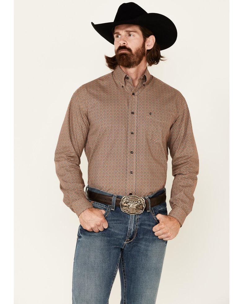 Stetson Men's Tiger's Eye Foulard Geo Print Long Sleeve Button-Down Western Shirt , Orange, hi-res