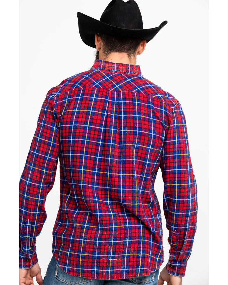 Levi's Men's Red Mondy Plaid Long Sleeve Western Flannel Shirt , Red, hi-res