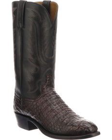 Lucchese Men's Handmade Walter Black Cherry Caiman Western Boots - Snip Toe, Black Cherry, hi-res