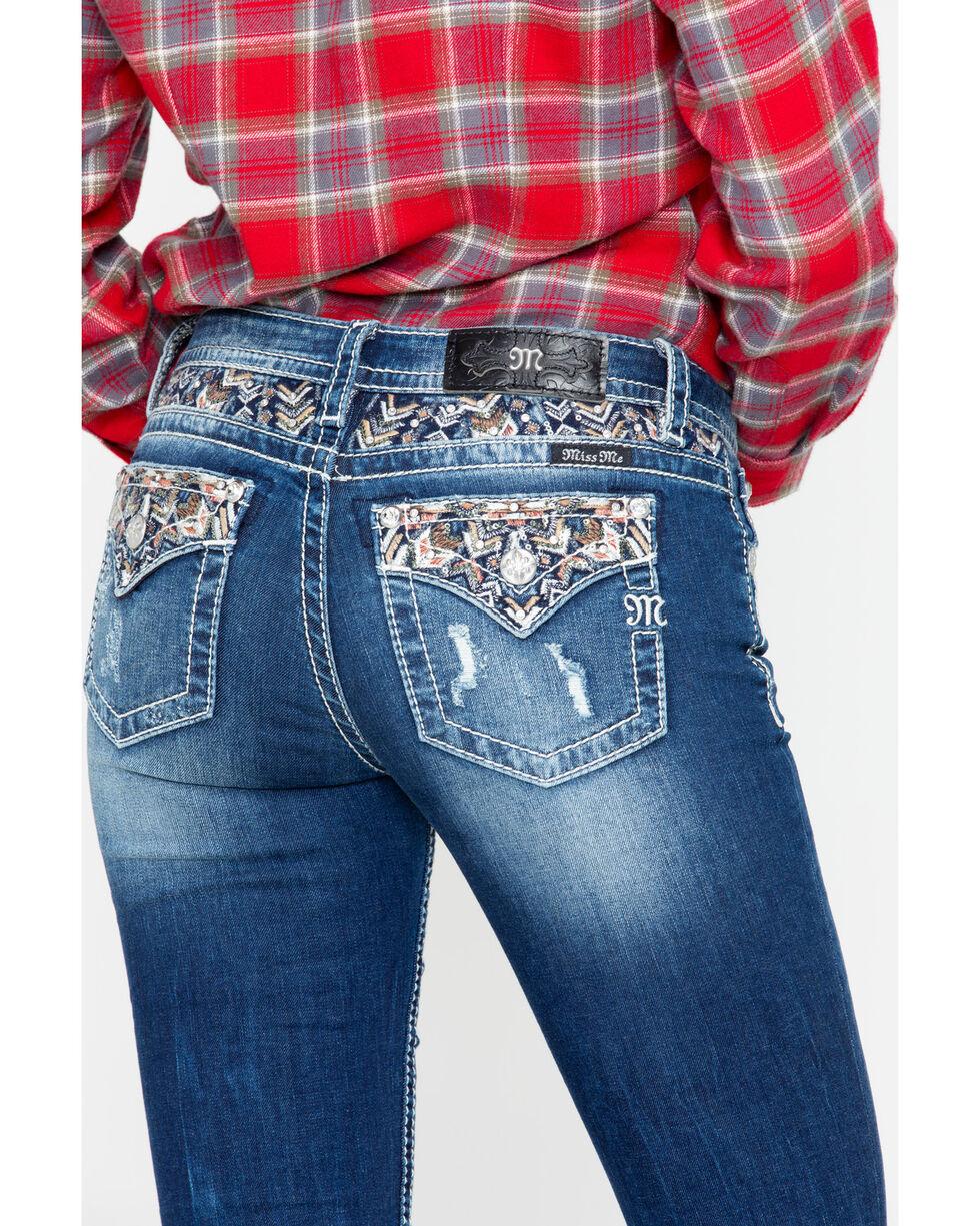 Miss Me Women's Aztec Pocket Boot Jeans, Blue, hi-res