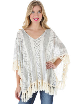 Wrangler Women's Tassel Trim Knitted Poncho Top, Cream, hi-res