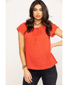 White Label by Panhandle Women's Dark Coral Crinkle Short Sleeve Peasant Top, Coral, hi-res