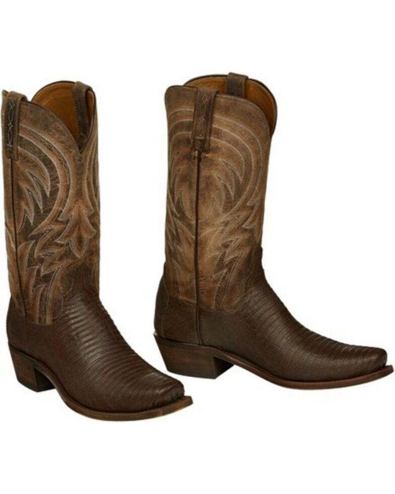 Lucchese Men's Handmade Tan Percy Lizard Boots - Narrow Square Toe , Tan, hi-res