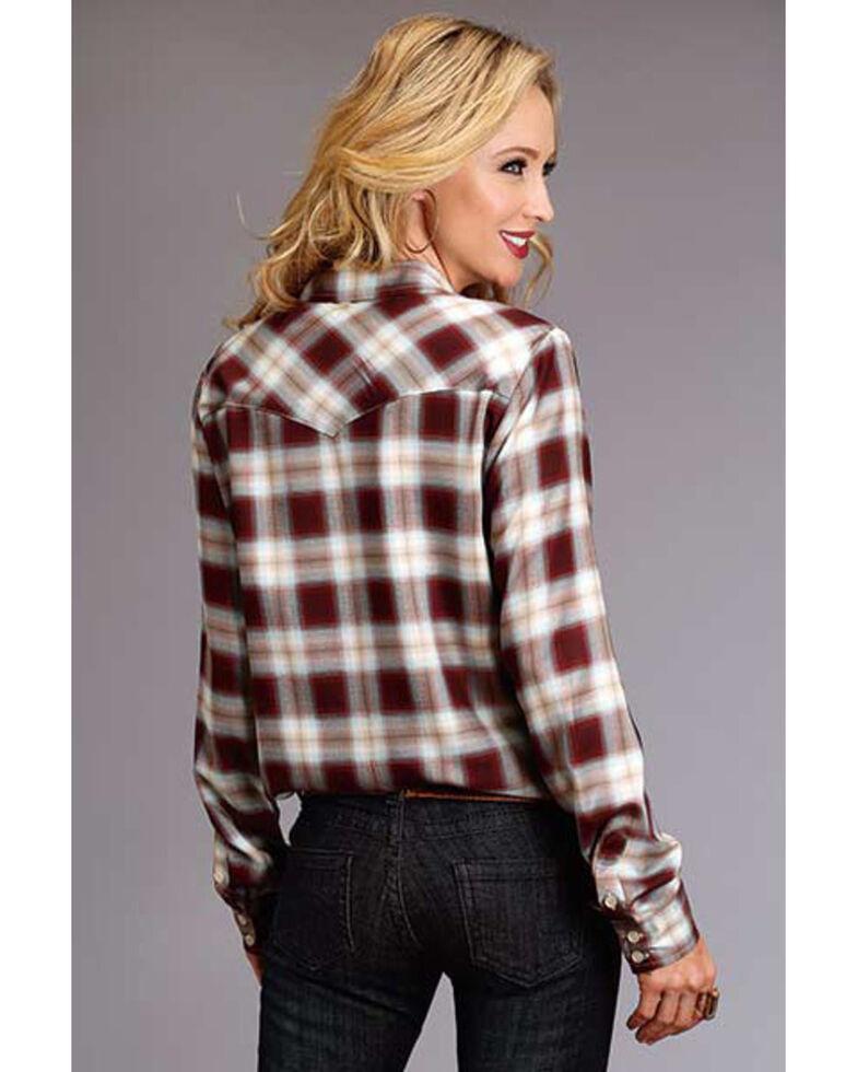 Stetson Women's Brown Plaid Long Sleeve Western Shirt, Brown, hi-res
