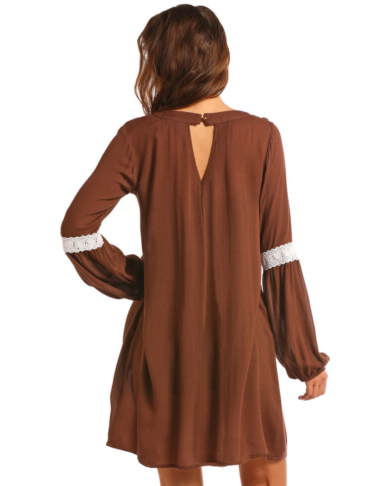 Rock & Roll Cowgirl Women's Long Sleeve Lace Elbow Dress , Brown, hi-res