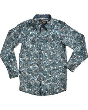 Cody James® Boys' Paisley Patterned Long Sleeve Shirt , Blue, hi-res