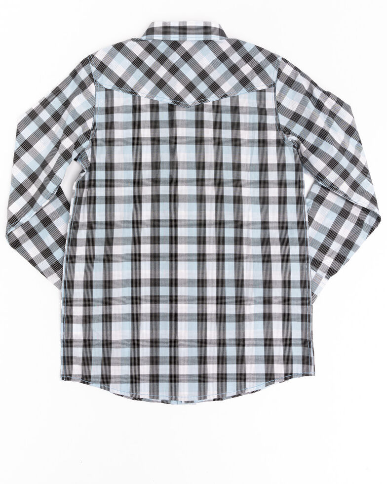 Cody James Boys' Elsworth Check Plaid Long Sleeve Western Shirt  , Black/blue, hi-res