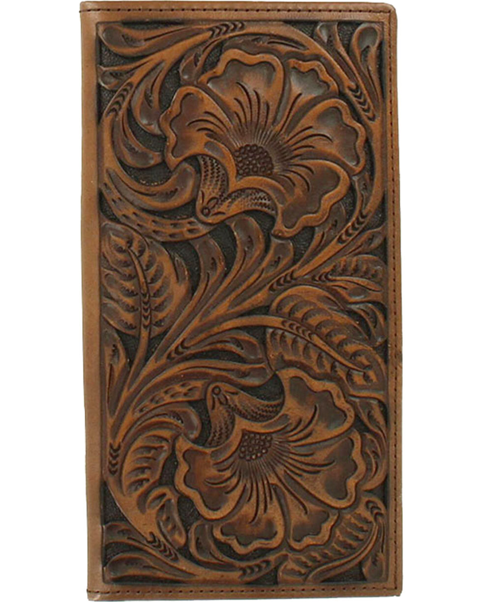 Ariat Men's Rodeo Embossed Wallet, Brown, hi-res