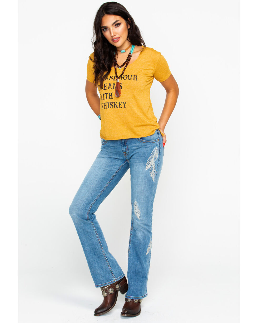 Ali Dee Women's Chase Your Dreams With Whiskey Graphic Tee , Dark Yellow, hi-res