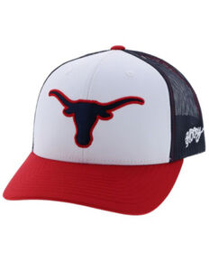 HOOey Men's UT Lornhorn Logo Mesh Cap , Red/white/blue, hi-res