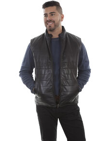 Scully Men's Black Lamb Vest, Black, hi-res