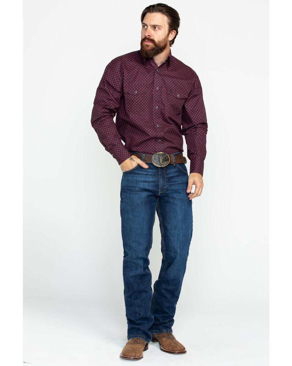 George Strait by Wrangler Men's Geo Print Troubadour Long Sleeve Western Shirt, Wine, hi-res