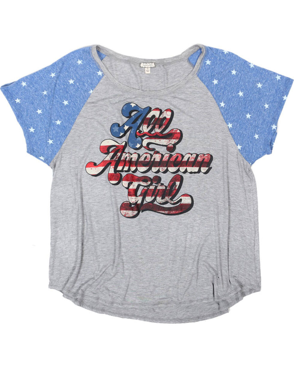 Eyeshadow Women's Plus Size All American Girl Graphic Tee, Grey, hi-res