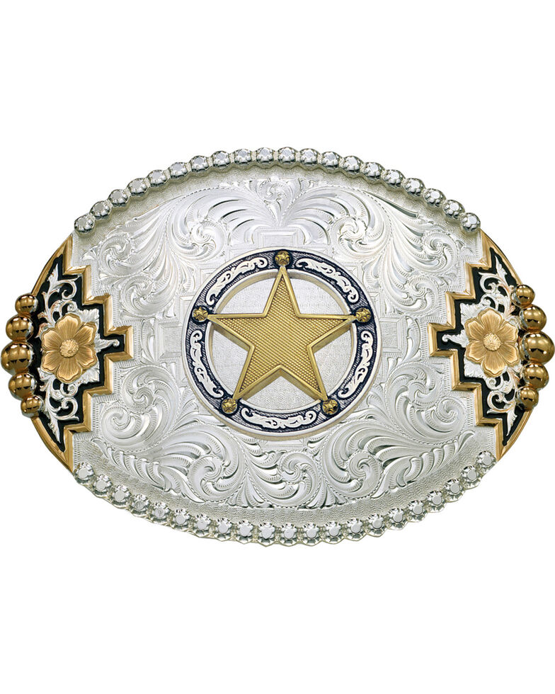 Montana Silversmiths Southwest Accent Round Star Concho Belt Buckle, Multi, hi-res