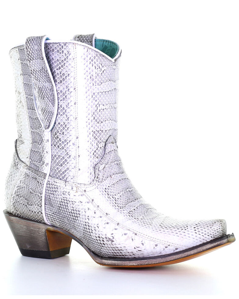 Corral Women's Exotic Snake Skin Western Booties - Snip Toe, Natural, hi-res