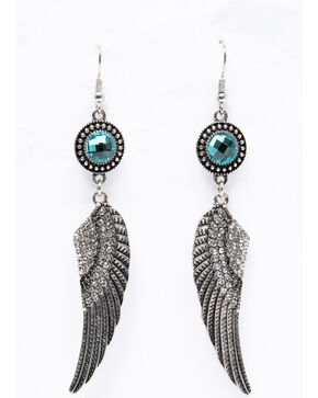 Shyanne Women's Isla Jane Silver Wing Turquoise Stone Earrings, Silver, hi-res