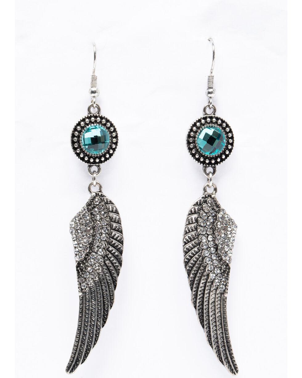 Shyanne Women's Isla Jane Silver Wing Turquoise Stone Earrings, Silver, hi-res