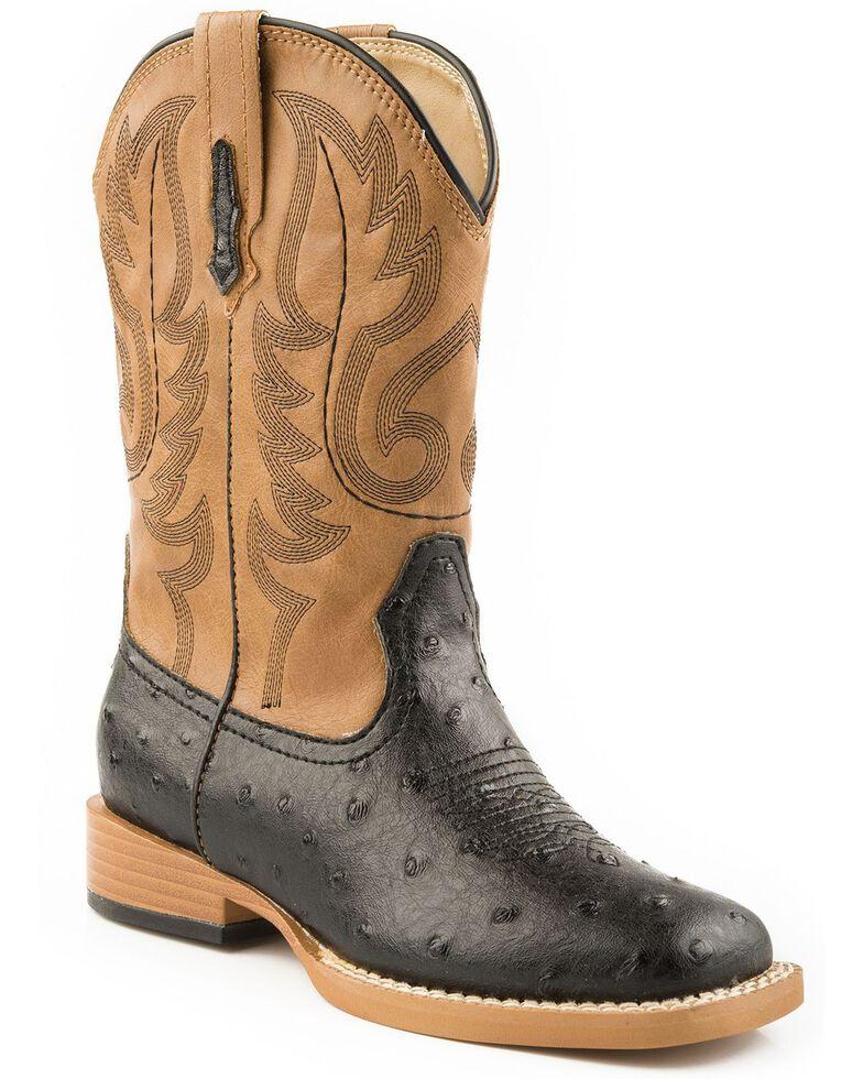Roper Kid's Ostrich Print Western Boots, Black, hi-res