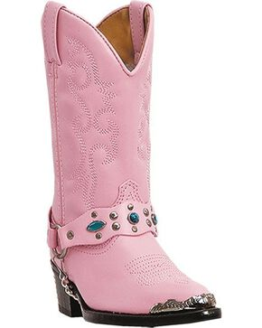 Laredo Children's Little Concho Western Boots, Pink, hi-res