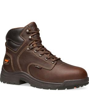 """Timberland Pro Men's 6"""" Titan Comp Toe Waterproof Work Boots, Dark Brown, hi-res"""