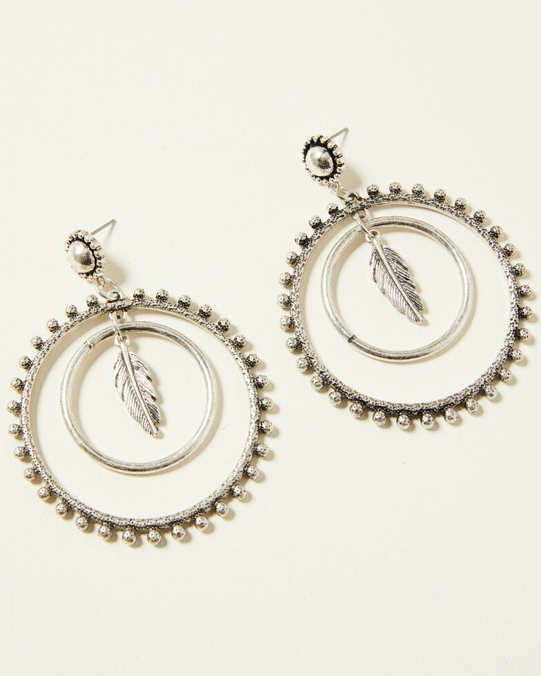 Idyllwind Women's Ruffle My Feathers Circle Earrings, Silver, hi-res
