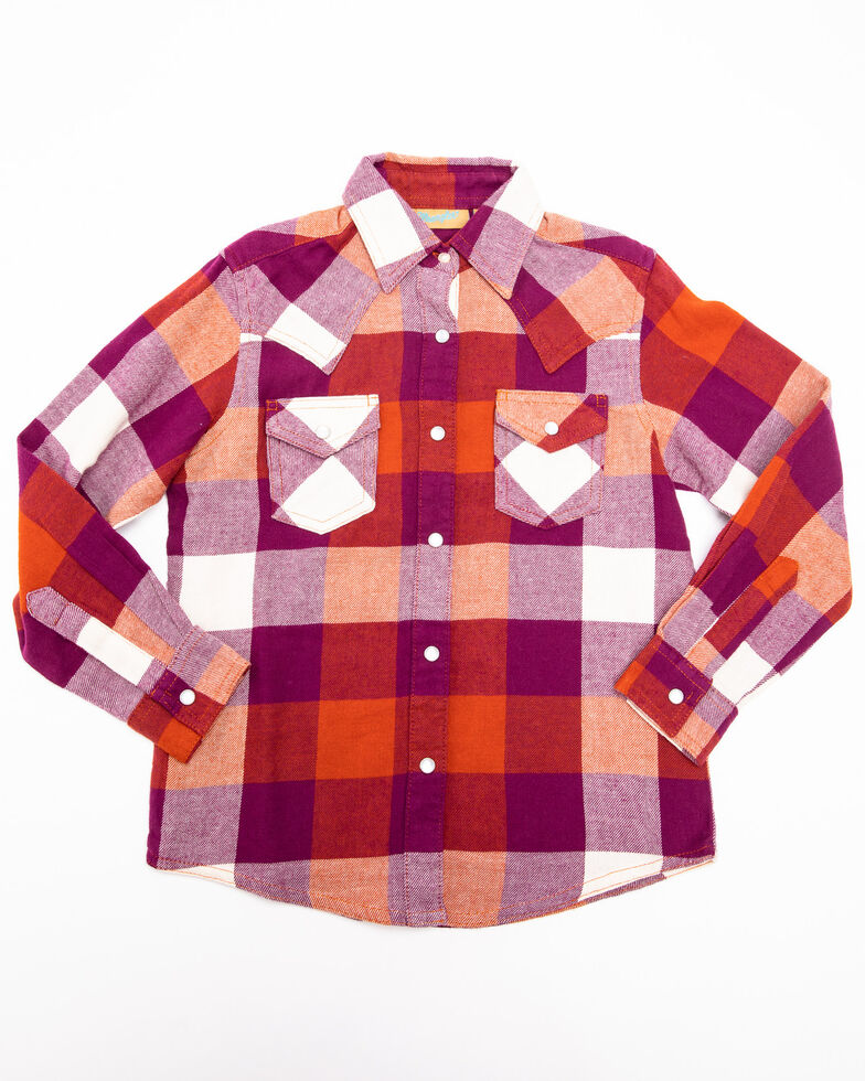 Wrangler Girls' Rust Plaid Long Sleeve Western Shirt, Multi, hi-res