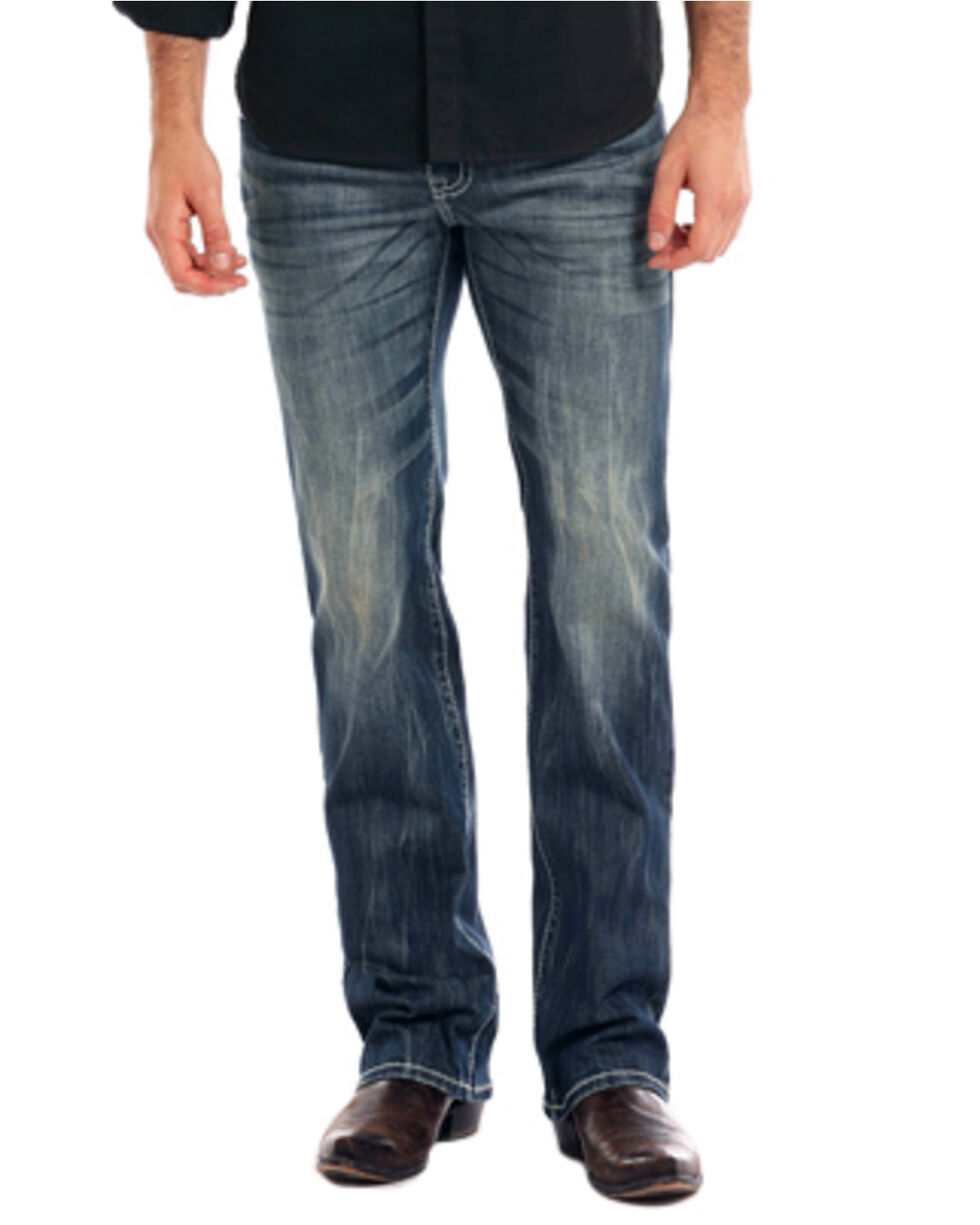 Rock & Roll Cowboy Men's Reflex Pistol Dark Vintage Wash Straight Leg Jeans, Indigo, hi-res