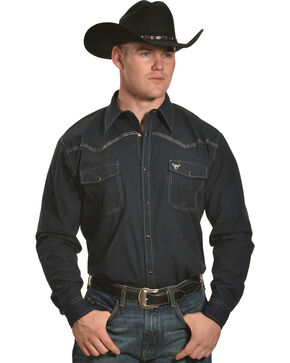 Cowboy Hardware Men's Navy Burlap Western Shirt , Navy, hi-res
