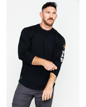 Hawx® Men's Logo Long Sleeve Crew Work Tee , Black, hi-res