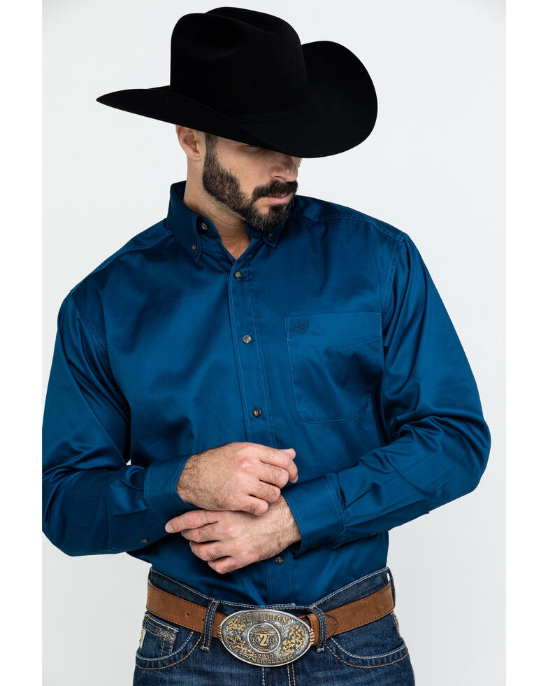 Ariat Men's Navy Solid Twill Button Long Sleeve Western Shirt , , hi-res