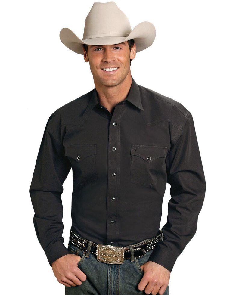 Stetson Men's Solid Oxford Snap Long Sleeve Western Shirt, Black, hi-res