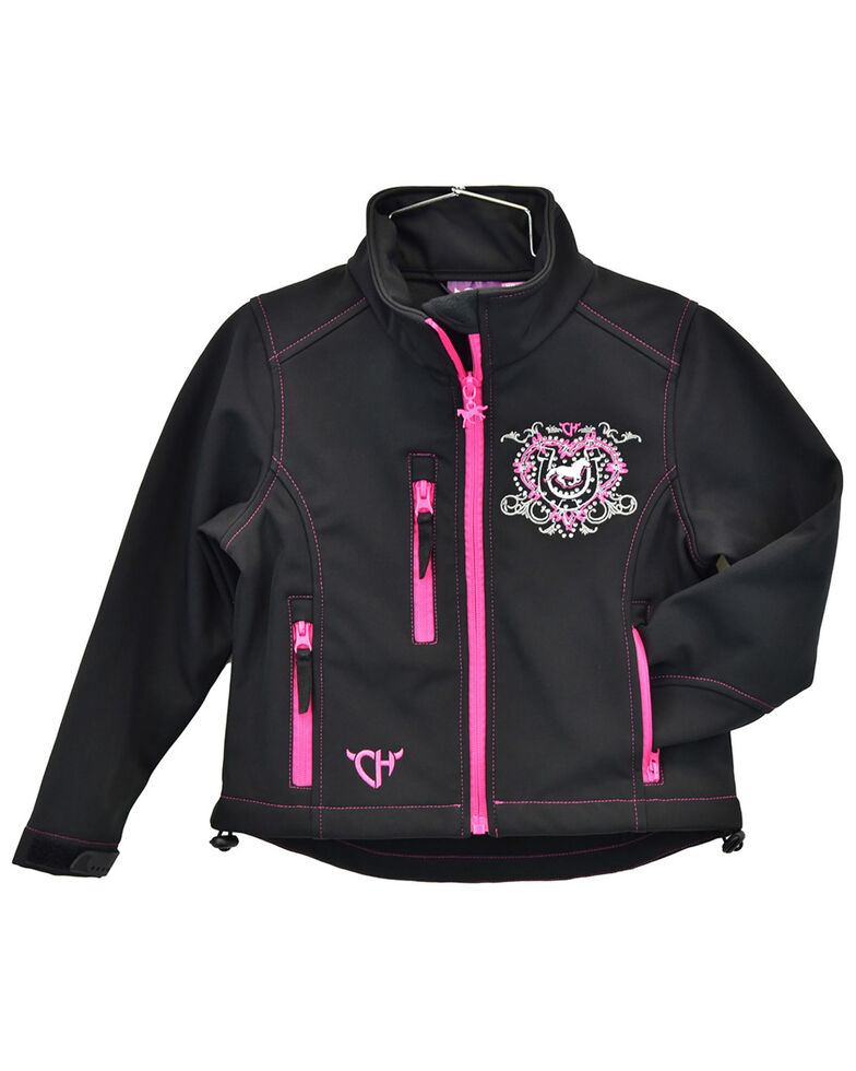 Cowgirl Hardware Infant Girls' Cowgirl Ranch Zip-Front Softshell Jacket , Black, hi-res