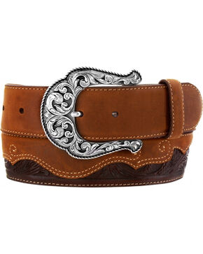 Justin Women's Floral Divine Leather Belt, Brown, hi-res