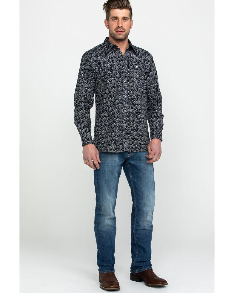 Cowboy Hardware Men's Classic Wallpaper Print Long Sleeve Western Shirt , Black, hi-res
