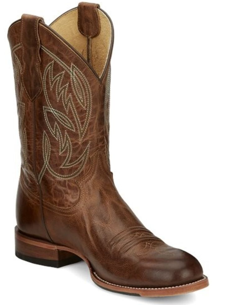 Justin Men's Pearsall Western Boots - Round Toe, Brown, hi-res